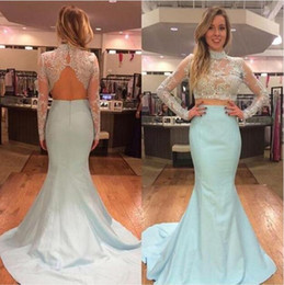 Wholesale Long Sleeve See Through Shirt - 2016 Sexy Mermaid Prom Dresses Model Pictures High Neck Sheer Long Sleeve Lace Appliques Beads Backless Formal Dress See Through Party Gowns