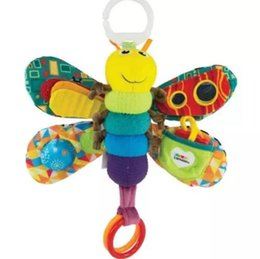 Wholesale Toy Baby Doll Strollers - 28cm Baby Toy Butterfly Crib toys with rattle teether Infant Early Development Toy stroller music Baby doll toy Kids Gift KKA3256