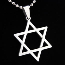 Wholesale Star David Silver Charms - Lot 12pcs Fashion Jewelry Stainless Steel Magen David Star of David Hexagram Charm Pendant Chain Necklace Gift MN242