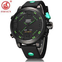 Wholesale Ohsen Led Digital Watches - Famous brand Ohsen dual time fashion army mens silicone wristwatch quartz digital hand watches waterproof LED display Black popular clock