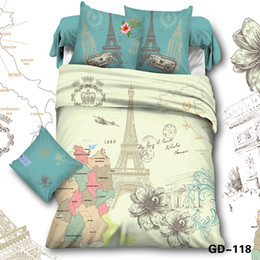 Wholesale Print Quality Bedding Sheet - Wholesale-Full Queen King Size100% Cotton High Quality 3D Bedding Sets Duvet Cover Bed Sheet 2 Pillowcase Romantic City Print
