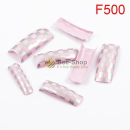 Wholesale Square Tip Acrylic Nails - 100pcs Pink color crossing squares art work pattern design half cover french nail art tips acrylic half false nails art fake nail tips F500