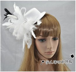 Wholesale Mesh Hat Clip - 2015 Wedding Bridal Tiaras Hair Accessories Vintage Feather Hair Accessories Small Mesh Hat Bridal Hair Accessories Hair Clips