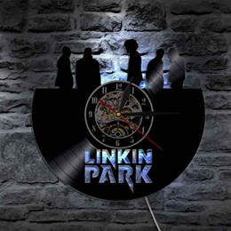 Wholesale Park Clock - Linkin Park Handmade Gift Home Decor Modern Design Wall Art Decal Sticker Black DIY 3D Led Night light Quartz Vinyl Record Wall Clock