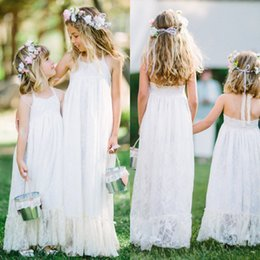 Wholesale Cheap Long Dresses For Weddings - 2016 Vintage Lace Flower Girl Dresses for Wedding Cute Halter Sleeveless Long Floor Length Kids Formal Gowns Cheap High Quality