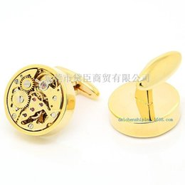 Wholesale Copper Imports - Dongguan high-end custom clothing cufflinks popular imports of all round gold cufflinks precision of gear movement CZ