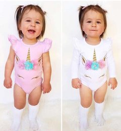 Wholesale Baby Bodies Long Sleeve - Unicorn baby girl romper cotton kid jumpsuit clothing pink white long short sleeve body suit ruffle sleeve cute girls toddler rompers suits