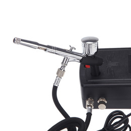 Wholesale Toy Gun For Model - Mini Air Compressor Dual-Action Spray Gun Air brush Set for Body Paint Makeup Craft Cake Toy Models Airbrush Kit H12345
