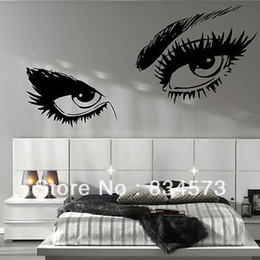 Wholesale Wall Stickers Women - Wholesale-LARGE WOMAN EYES SALON LIPS Decoration Wall Stickers Wall Decal Wallpaper Decor Stickers Vinyl Wall Art Decals Poster 95x45cm
