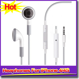 Wholesale Iphone 4s Earbuds - For Iphone 4s Headphone Earphone Stereo Earbuds White Earphone Universal for Iphone 4s iphone 6 Headphones