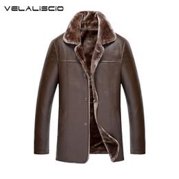 Wholesale Leather Jackets Wool Lining - Wholesale- VELALISCIO 2017 Winter New Fashion Mens Leather Jackets Man Fur Lining Wool PU Leather Jacket Warm Men Suede Leathe