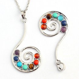 Wholesale Spiral Charm Necklace - 10X Charm Spiral Set Colorful Gem Stone Bead Metal Pendant Positive Energy Healing Chakra Amulet Fashion Jewelry 2014 New
