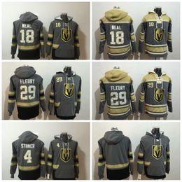Wholesale Mans Black Hoodies - #29 Marc-Andre Fleury Hockey Hoodies Vegas Golden Knights 18 James Neal 4 Clayton Stoner Blank Grey Hoodie Jerseys Hoodied All Stich Hoody