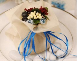 Wholesale Baby Shower Favor Bag Blue - 50pcs Deluxe Romantic Satin Candy Bags Flower Wedding Party Baby Shower Favor