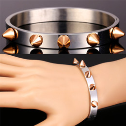 Wholesale Nails Bars - U7 Punk Rock Nail Bangle Bracelet 316L Stainless Steel Rose Gold Plated High Quality Fashion Men Jewelry 7-GH1555M