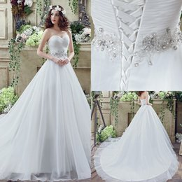 Wholesale Cheap Designer Beaded Wedding Dresses - Designed 2017 Cheap A Line Wedding Dresses Sexy Sweetheart Lace-up Back with Beaded Crystal Sash Floor Length Bridal Gowns CPS242