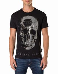 Wholesale Skull Bead Crystals - Skull 3D Printed Crystal Beads T-Shirt Mens T-shirts Cotton Breathable Short Sleeved Tee Shirts Black Male Slim Sport Poloshirt Shirts 18758