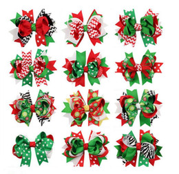 Wholesale Wholesale Metallic Ribbon - Girls Christmas hairpins dovetail Barrettes bow with clip children snowflake Dot stripe hair accessories Bow Hair clips 13colors