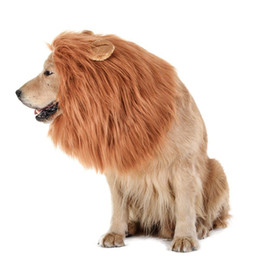 Wholesale Female Funny Costumes - Realistic&Funny Lion Mane Wig with Ear&Tail for Large Dogs Costume Dress up