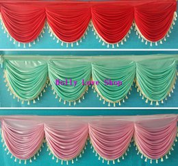 Wholesale Tassel Dance Skirts - 6 meter long elegant and luxury wedding table skirting swags with tassel wedding backdrop curtain decoration wedding drapery swags