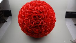 """Wholesale Christmas Ball Ornaments Sale - Hot Sale 40 CM 16"""" New Artificial Encryption Rose Silk Flower Kissing Balls Hanging Ball Christmas Ornaments Wedding Party Decorations"""