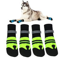 Wholesale Pet Lines - Dog Shoes Plush Lining Non-slip Footwear Reflective Strip Winter Pet Shoes for Dog Pet Boots Paw Protector Warm Dog Supplies JJ0630