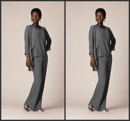 Royal suit size 16 on-line-2019 Cinza Chiffon Formal Pant Ternos Para A Mãe Do Noivo Vestidos de Desgaste da Noite Longo Mãe dos Vestidos de Noiva Com Jaquetas Plus Size Personalizado 113