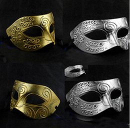 Wholesale Carnival Costumes Wholesale - Men's retro Greco-Roman Gladiator masquerade masks Vintage Golden Silver Mask silver Carnival Mask Mens Halloween Costume Party Mask