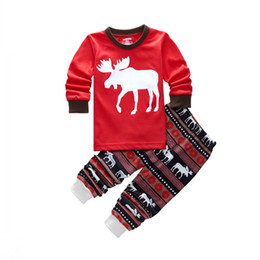 Wholesale Girls Cotton Nightwear - 2017 Christmas Toddler Kid Baby Girl Boy Reindeer Pajamas Sleepwear Nightwear Xmas Pajama Sets