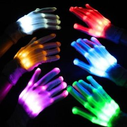 Wholesale Glove Light Finger - LED Luminous Finger Light Gloves Dancing Club Props Light Up Toys Glowing Unique Gloves Glow Colorful Skeleton Gloves