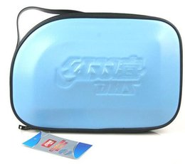 Wholesale Table Cover Sky Blue - HOT- ON SALE- 2PCS- DHS RC302 RC303 RC304 (RC-302 RC-303 RC-304) Sky Hard Leather Table Tennis Tennis Racket Cover ping pang bags