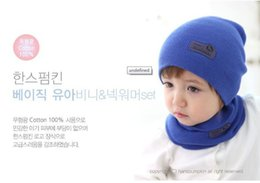 Wholesale Candy Colors Baby Scarf - Children's fashion brand spring cap + 6 colors scarves standard pure leather color candy color wool hat newsboy cap baby hat