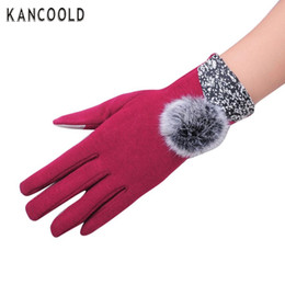 Wholesale Girls Fingerless Cotton Gloves - Wholesale- Newly Stylish Fashion PU Leather Women Winter Gloves Female Ladies Girls Toccare Screen Mittens With Sheep Wool Ball Femme No23