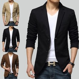Wholesale Casual Blazer Styles Men - men's suits business blazer 2016 new arrival casual male Korean style small jacket with large code youth suit 3 colors