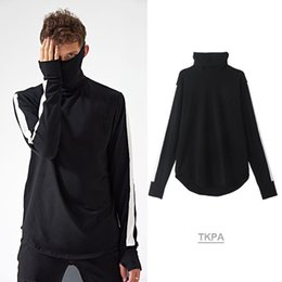 Wholesale Long T Shir - 2017 Autumn and winter new men's street pure cotton playing bottom shirt American retro high collar stitching hanging ear long sleeve T-shir