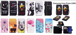Wholesale Galaxy Core Flip Cover - New Flip PU Leather Wallet Back Phone Cover Case For Samsung Galaxy Core Prime G360 G360F G360H G361H Fundas Coque &Hand Strap