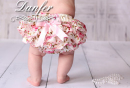 Wholesale Infant Lace Bloomer - NEW ARRIVAL baby girl kids infant toddler satin bloomers lace bloomers rose flower floral print bloomers diaper covers bowknot cute shorts
