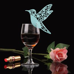 Wholesale Marriage Card Decoration - 50PCS Creative Bird Paper Card Wine Glass Cup Flower Place Cards Wedding Souveris casamento marriage Party Decoration Paperboard