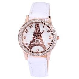 Relogios paris eiffel on-line-Venda quente Relógios De Pulso De Couro Rhinestone Relógios Novos Relógios de Moda Paris Torre Eiffel Padrão Para Presentes 100 pcs Frete Grátis