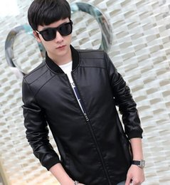 Wholesale Cheap Leather Sleeves - Wholesale- Cheap wholesale 2017 new spring autumn Hot style men clothing han edition fashion casual cool tide leather PU jackets