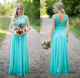 Wholesale Dark Royal Blue Dresses - 2018 Turquoise Bridesmaids Dresses Sheer Jewel Neck Lace Top Chiffon Long Country Bridesmaid Maid of Honor Wedding Guest Dresses