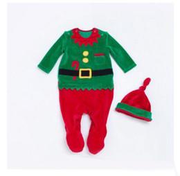 Wholesale Santa Claus Costume Boys - Christmas Rompers Santa Claus Newborn Baby Boys Girl Long Sleeve Deer Romper Jumpsuit Sleepwear Party Costume Baby Clothes Christmas Gifts