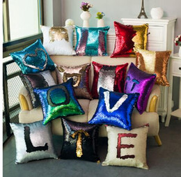 Wholesale Decorative Cover Pillows - 39 color Sequin Mermaid Throw Pillow Glitter Cushion Cover Sofa Home Christmas Decorative Car Cushion Cover Gifts Pillowcase KKA983