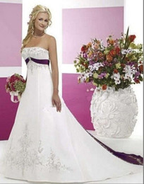 Wholesale Hand Print Pictures - Hot Selling New Elegant White and Purple Emboridery Wedding Dresses Sleeveless Satin Court Train Strapless Bridal Gowns