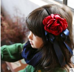 Wholesale Red Hair Flower Big - Flower headbands for girls Vintage 3D Big Flower Bowknot Girls Hair Clasp 2016 New Korean Fashion hair accessories children headband H147