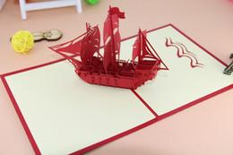 """Origami para presente de aniversário on-line-O Criativo """"Barco À Vela"""" Handmade Kirigami Origami 3D Pop Up Cartões Para Presente de Aniversário Artesanal Cartões"""