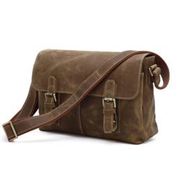 jmd leather bags Скидка Wholesale- JMD Vintage Genuine Crazy Horse Leather Brown Leather Weekend Bag Shoulder Men's Messenger Bag Crossbody # 6002B
