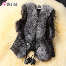 Wholesale Leather Gilet Fur Collar - Womens Faux Fur Collar Gilet Sleeveless V-Neck Faux Leather Jacket Womens Shaggy Faux Fur Vest Warm Outwear CJD1002