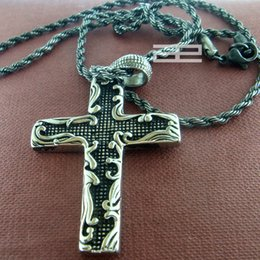 """Wholesale Gp Cross Necklace - Man's 18K Gold Plated GP Cross Pendant with 19.7""""inch Length Chain Necklace N161"""