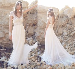 Wholesale Popular Beads - 2015 Popular Beach Wedding Dresses Sweep Train V Neck Cap Sleeve Backless Chiffon with Crystal and Pearls Cheap Price Bridal Gowns HY